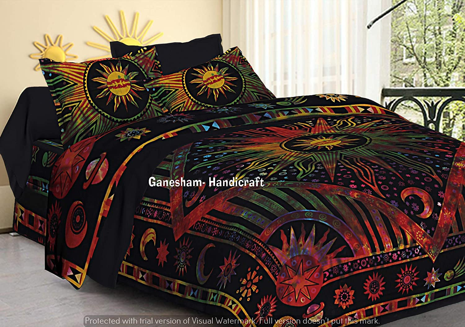GANESHAM Indian Hippie Gypsy Bedroom Decor Bohemian Tapestry Boho Cotton  Reversible Mandala Duvet Cover Set Queen Size Bedding Cover with 2 Pillow  ...