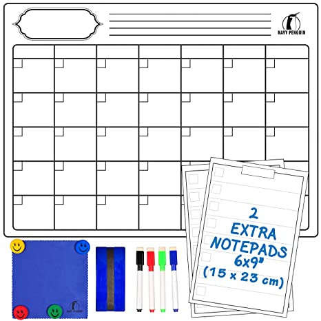 Set de Calendario Magnético Mensual - Grande Planificador Pizarra Blanca 43x33cm + 2 Listas de Compras + 1 Borrador, 1 Paño, 4 Rotuladores, 4 Imanes - ...