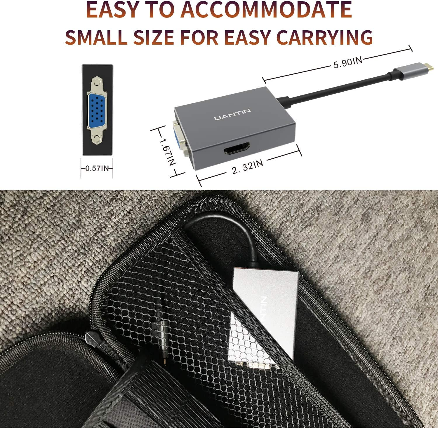 for MacBook//Pro//Air//iMac//iPad Pro and Other Type C Laptops or Devices USB 3.0 Port VGA Port USB C Hub 3-in-1 USB C Adapter with 4K USB C to HDMI