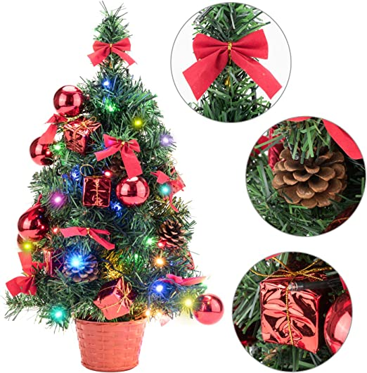 18//45CM Tabletop Xmas Tree Artificial Christmas Pine Tree with LED String Lights and Ornaments Decoration Gift Set