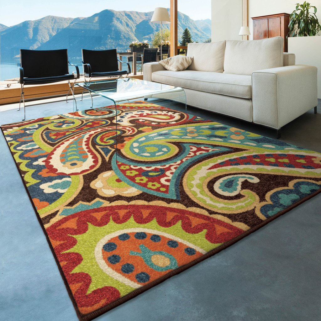 Amazon.com: Orian Rugs Indoor/Outdoor Paisley Monteray Multi Area ...