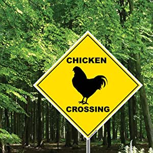 """VictoryStore Chicken Crossing Sign - 22"""" Diamond Shaped"""