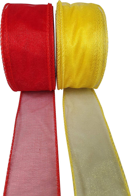 INERRA Rollo de cinta de organza con alambre 2 rollos de 20 m color rojo y amarillo