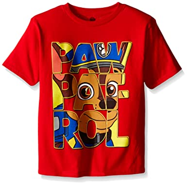 12a23c4e Amazon.com: Paw Patrol Little Boys' Group T-Shirt, Red Big Face, Large/7:  Clothing