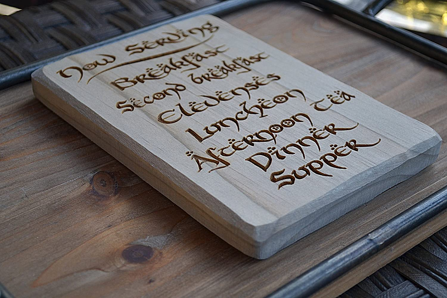 Distraction 5.5 x 8 Hobbit Daily Meals Plaque//Sign Solid Wood Engraved