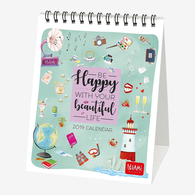 Legami Calendario Da Tavolo 2019, Dimensioni 12 X 14,5 Cm-Live Happy 8052783611708