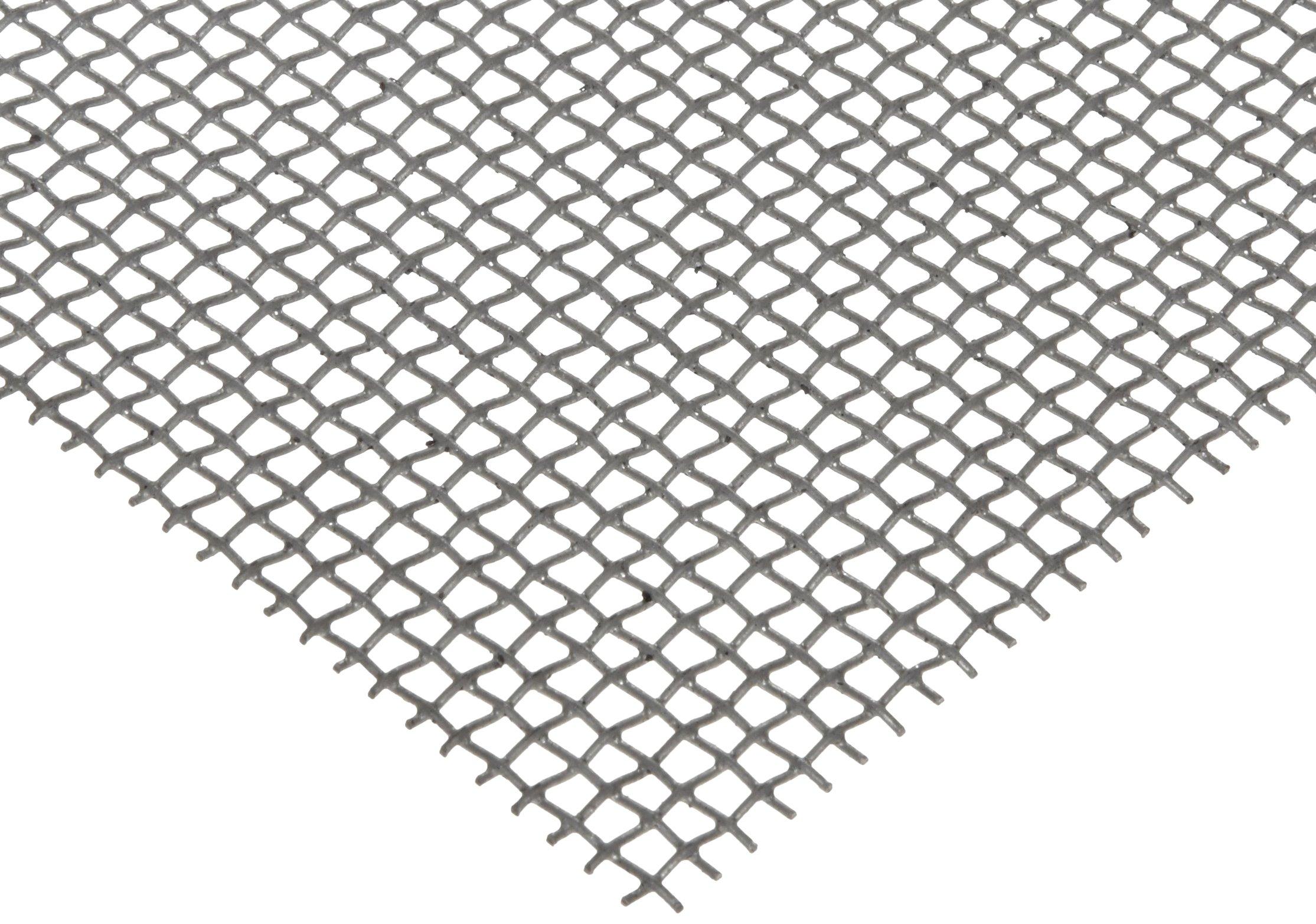 "Steel Woven Mesh Sheet, Zinc Galvanized Finish, 12"" Width, 12"" Length, 0.018"" Wire Diameter, 55% Open Area"