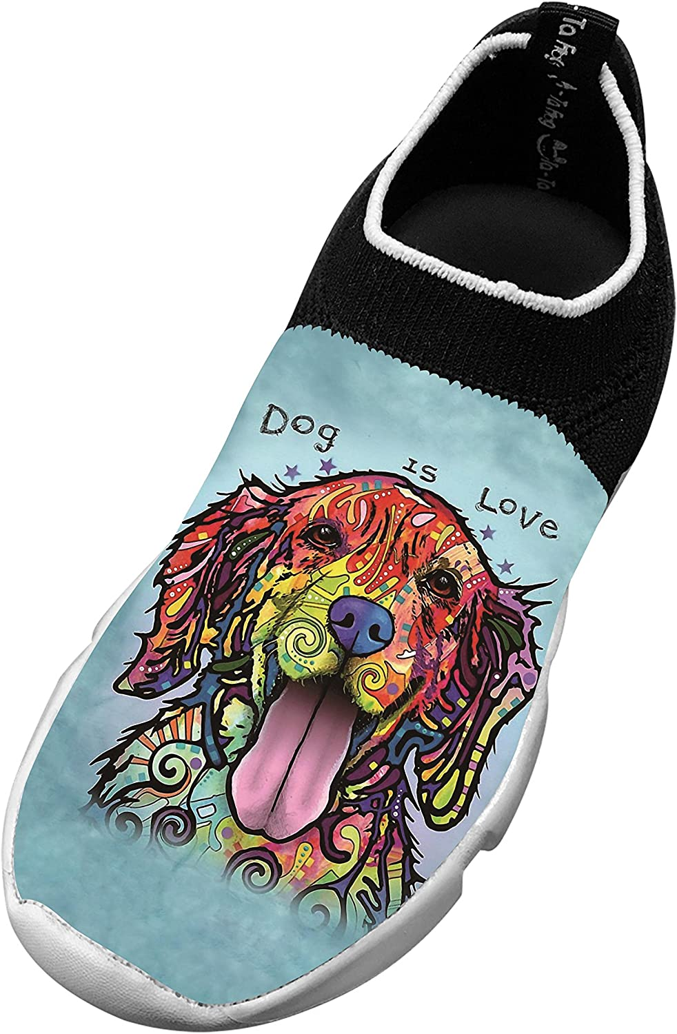 New Fashion Flywire Knitting Jogging Shoes 3D Design With Dog Is Love For Boy Girl