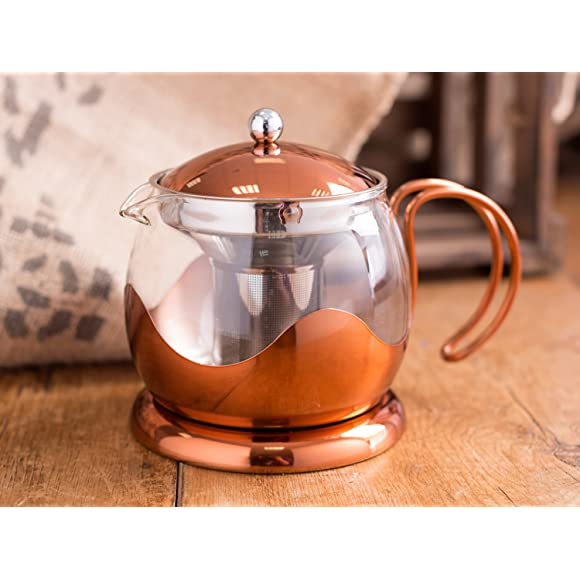 Creative Tops 660 ml Copper and Glass Cafetiere Teapot