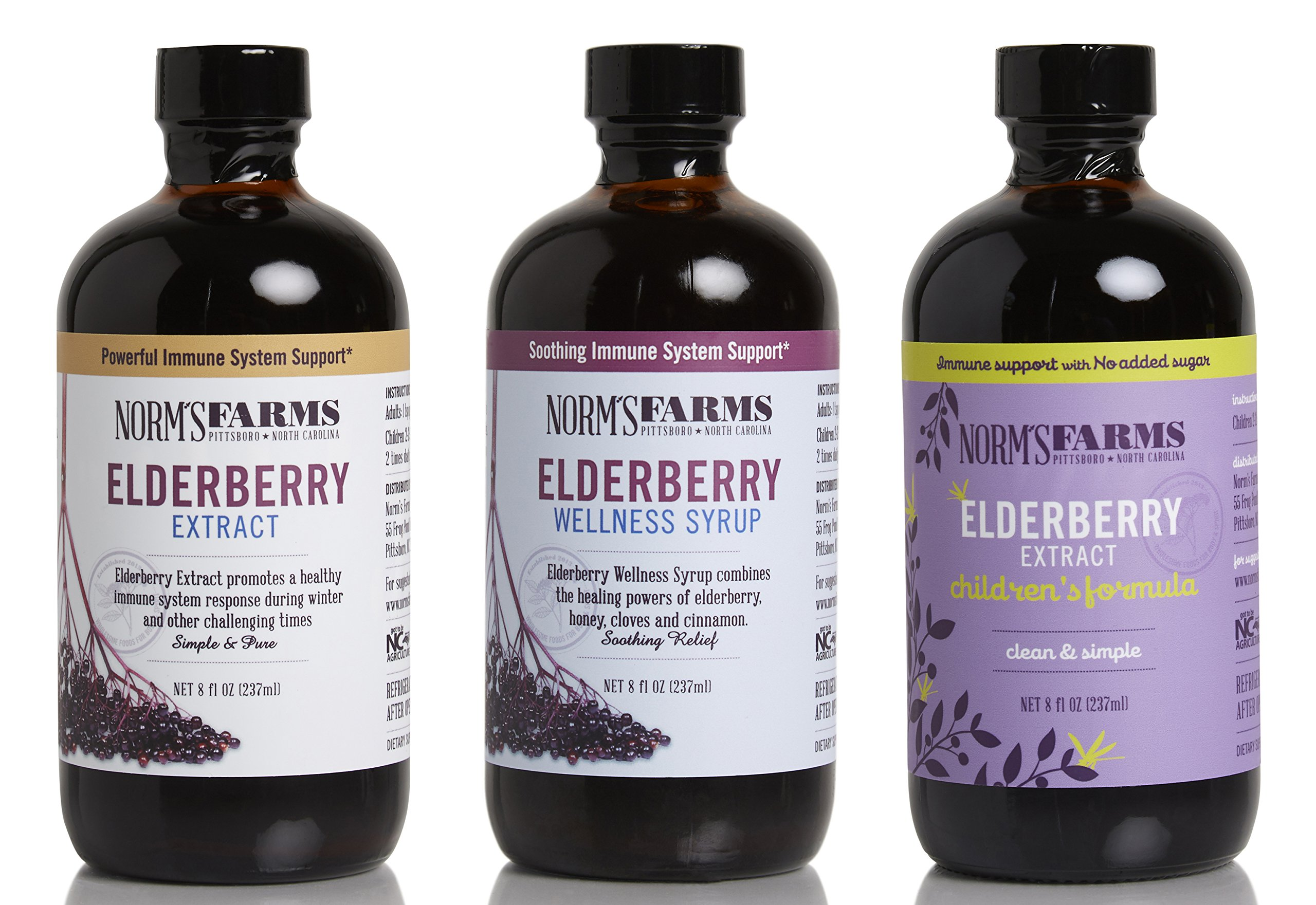 Norm's Farms Family Supplement Pack, Includes 1 Each of Black Elderberry Extract, Wellness Syrup, and Children's Formula
