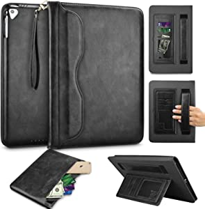 Tinysaturn iPad 9.7 Inch 2018/2017 / iPad Air 2 / iPad Air/iPad Pro Case, Premium PU Leather Business Slim Folding Stand Wallet Folio Cover Auto Wake/Sleep Front Document Pocket - Black