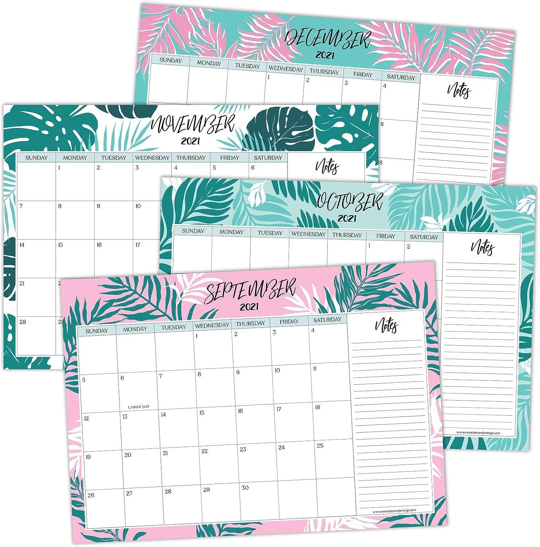 Sweetzer & Orange 2021 Calendar. 16 Month Desk Calendar 2021-April 2022 – Leaf Design Monthly Planner, Daily Desk Pad Calendars for Home or Office Organization. 12 x 17 Desktop or Wall Calendar