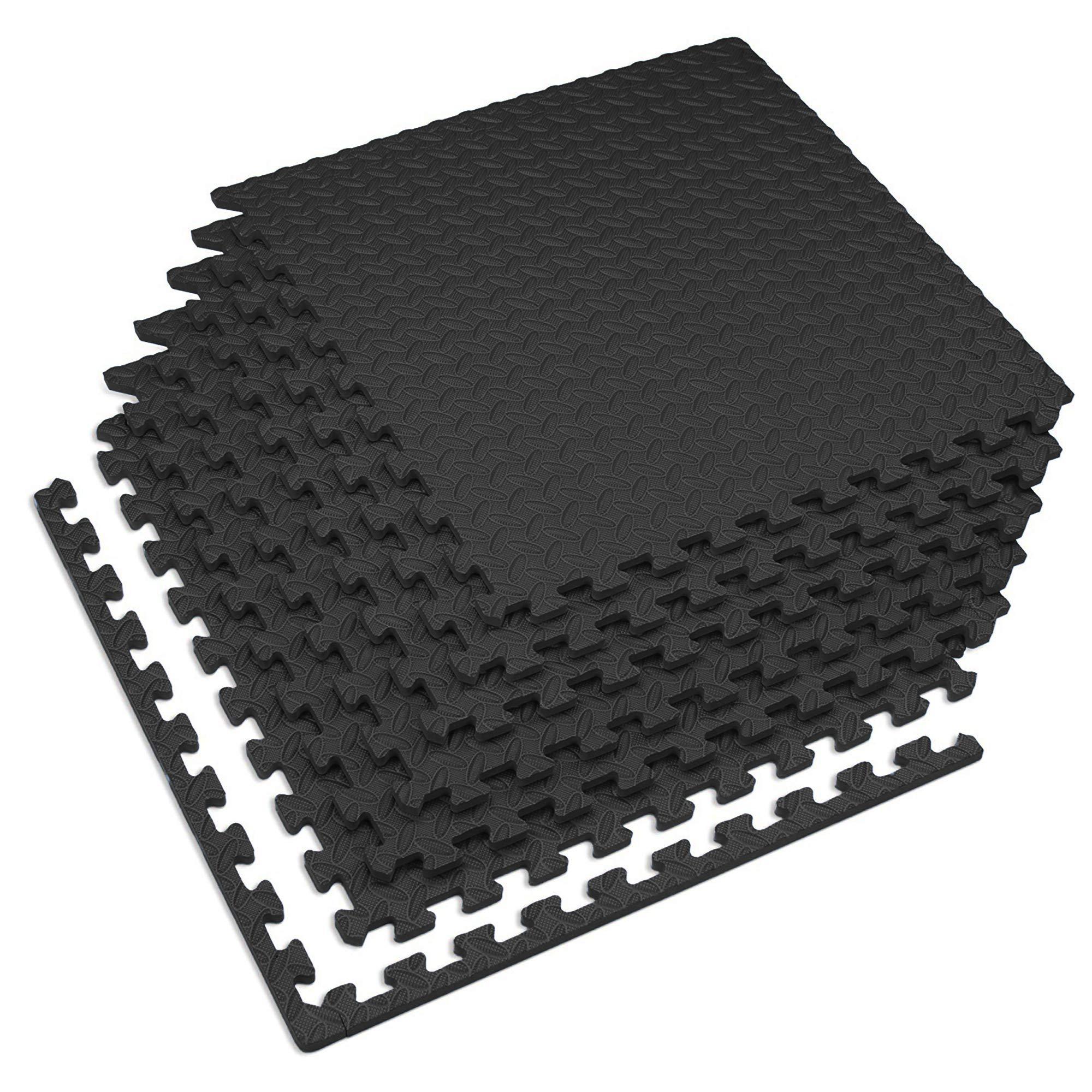 Velotas Thick Interlocking (6 Tiles) Foam Fitness Mat, 24 sq. ft, Black