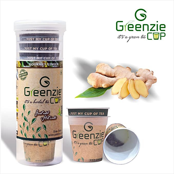 Greenzie Ginger Instant Herbal Tea Cup (Just Add Hot Water Make Tea