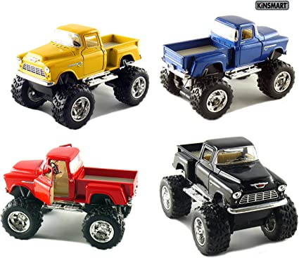 Amazon Com Set Of 4 Trucks 5 Chevy Stepside 4x4 Pick Up Monster Wheel Black Blue Red And Yellow Toys Games