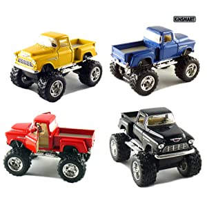 """Set of 4 Trucks: 5"""" Chevy Stepside 4x4 Pick Up Monster Wheel (Black, Blue, Red and Yellow)"""