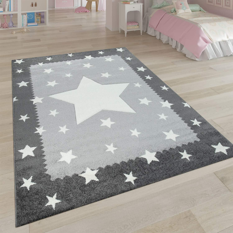 Paco Home Kinderteppich Grau Wei/ß Kinderzimmer 3-D Bord/üre Sternen Design Weich Robust Gr/össe:140x200 cm