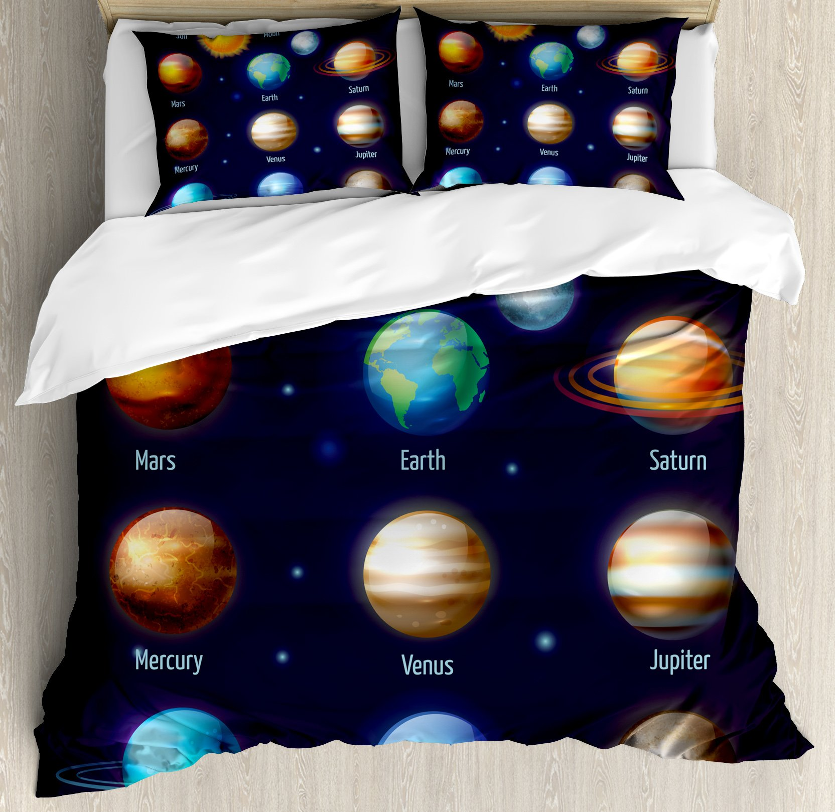 Educational Queen Size Duvet Cover Set by Ambesonne, Solar System Planets and the Sun Pictograms Set Astronomical Colorful Design, Decorative 3 Piece Bedding Set with 2 Pillow Shams, Multicolor