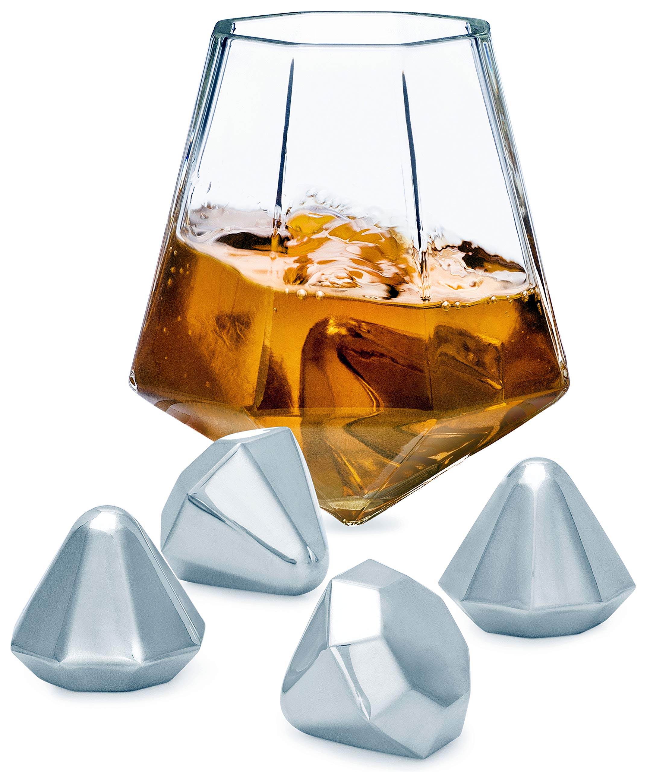 Diamond Whiskey Stones, Reusable Stainless Steel with Velvet Carrying Pouch - Set of 4