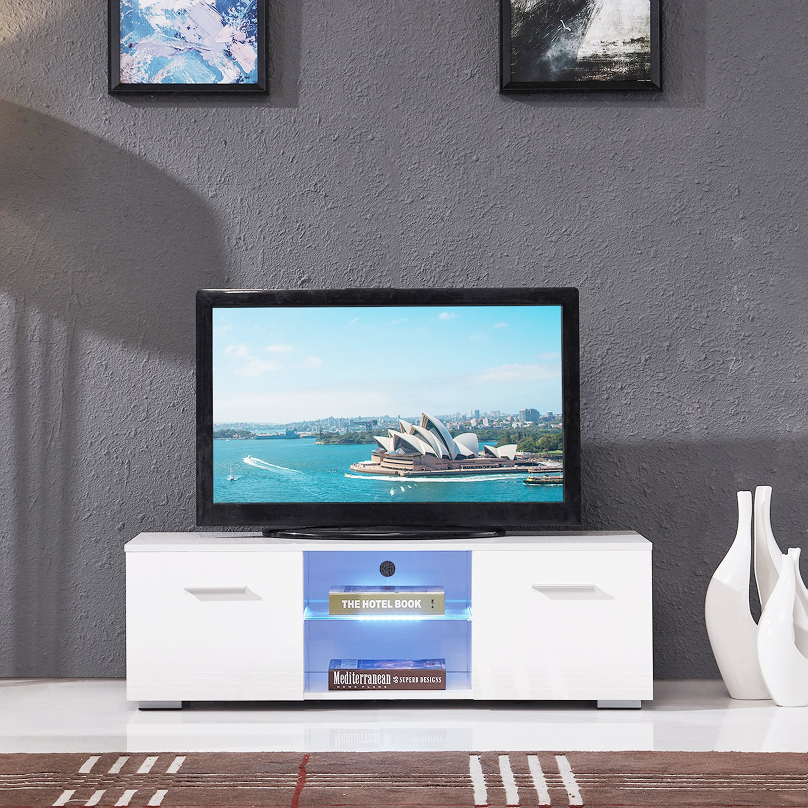 SUNCOO TV Stand Media Console Cabinet LED Shelves with 2 Drawers for Living Room Storage High Gloss White for up to 47-inch TV Screens