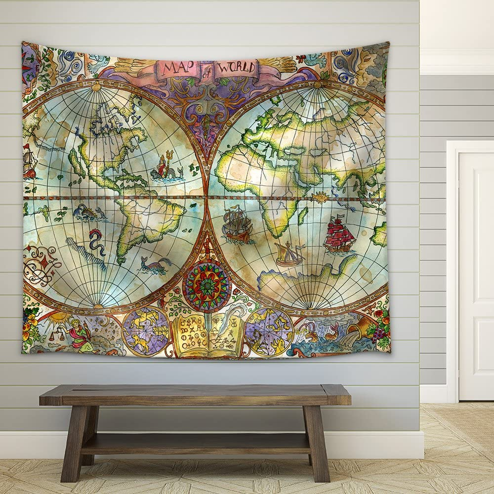 wall26 - Illustration - Vintage Illustration with World Atlas Map on Antique Paper. Pirate Adventures - Fabric Wall Tapestry Home Decor - 68x80 inches