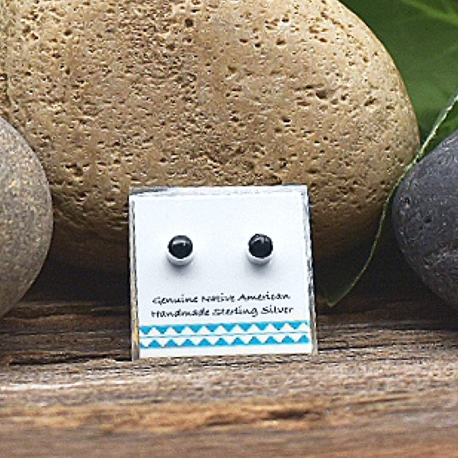 Nickle Free Native American USA Handmade 4mm Genuine Black Onyx Stud Earrings in 925 Sterling Silver Minimalist