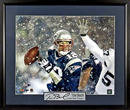 3877ce728 New England Patriots Tom Brady quot Snow Game quot  11x14 Photograph (SGA  Signature Engraved Plate