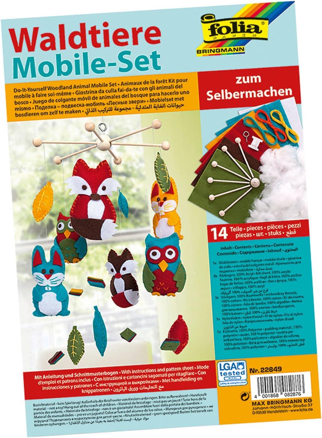 folia 22859 mit 14 Teilen Anleitung und Schnittmusterbogen Mobile Set Fahrzeuge zum Selbermachen Komplettset zur Erstellung eines Mobiles