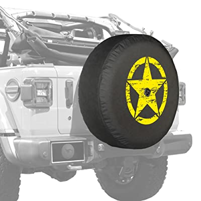 "Boomerang - 32"" Soft JL Tire Cover for Jeep Wrangler JL (with Back-up Camera) - Sport & Sahara (2020-2020) - Distressed Star - Yellow Print - Made in The USA: Automotive [5Bkhe1007242]"