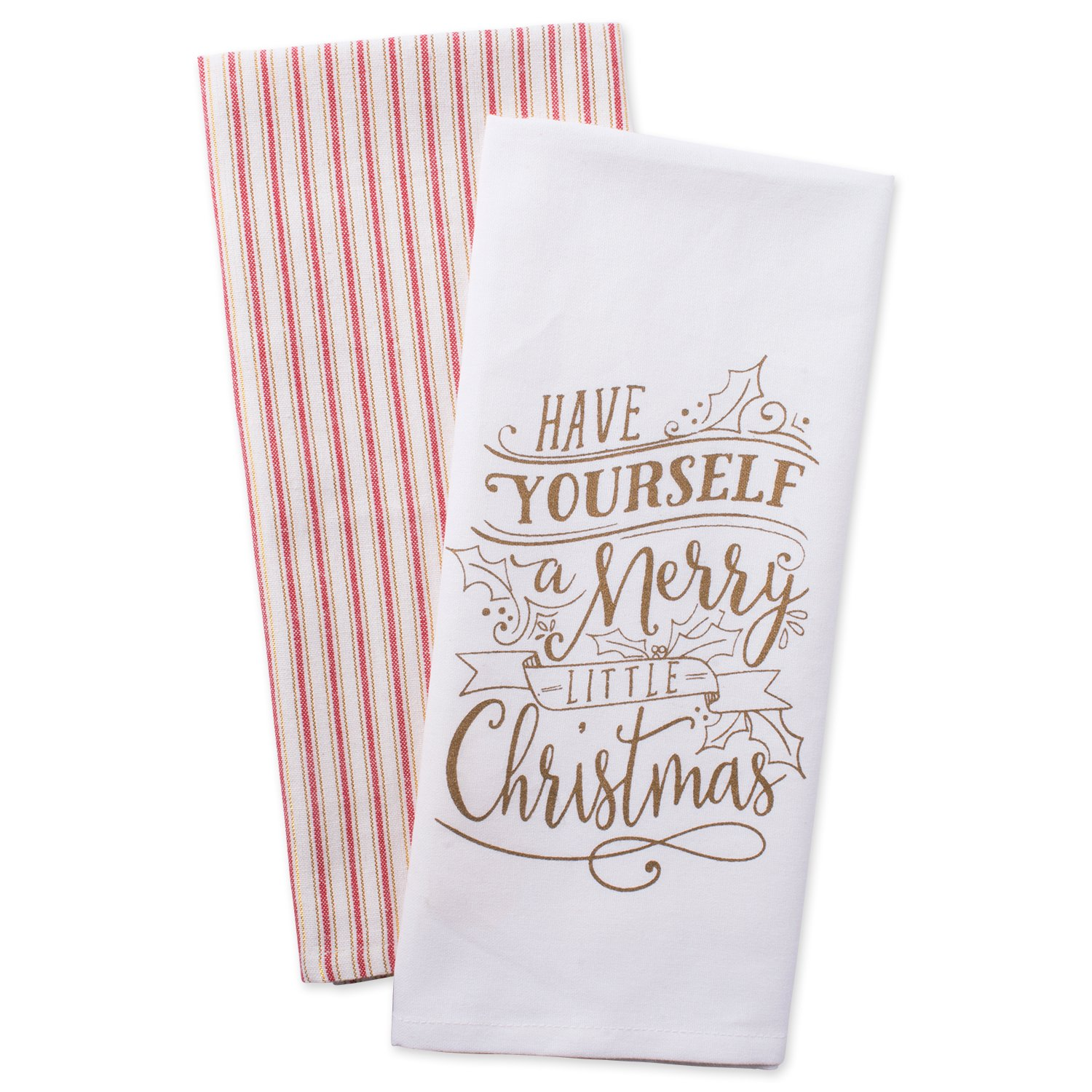 DII Cotton Christmas Holiday Dish Towels, 18x28 Set of 2, Decorative Oversized Kitchen Towels, Perfect Home and Kitchen Gift-Merry Little Christmas