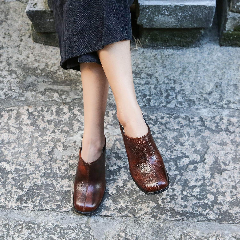 Damen Vintage Block High Heels Herbst echte Leder Keilabsatz Keilabsatz Keilabsatz Slip-on Stiefeletten 9716a2