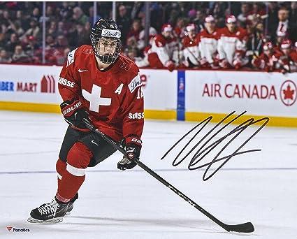 Nico Hischier New Jersey Devils Autographed 8 quot  x 10 quot  Team  Switzerland 2017 World Junior 9196c1aeb