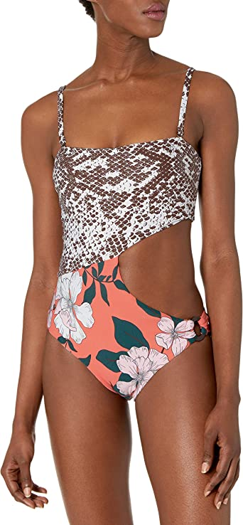 Maaji Womens Reversible Strappy Lace Up Back One Piece Swimsuit