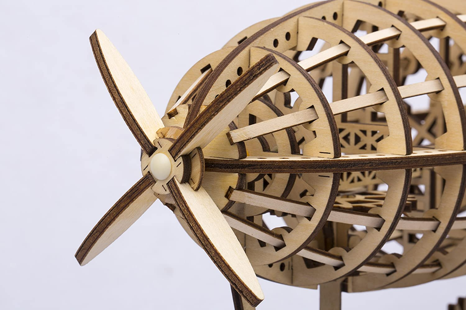 Premium Quality Wood Airship Non-Toxic and Safe. DIY 3D Wooden Puzzle Laser-Cut Mechanical Wind-Up Puzzle Model Kit