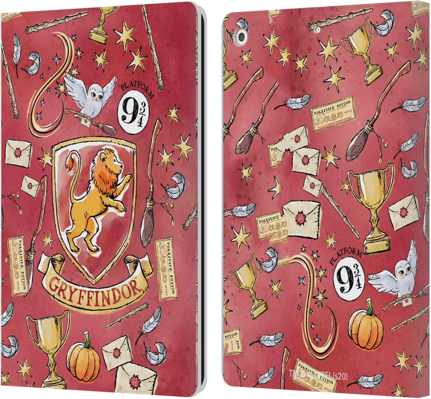 Head Case Designs Officially Licensed Harry Potter Gryffindor Pattern Deathly Hallows XIII Leather Book Wallet Case Cover Compatible with Apple iPad 10.2 (2019)/(2020)