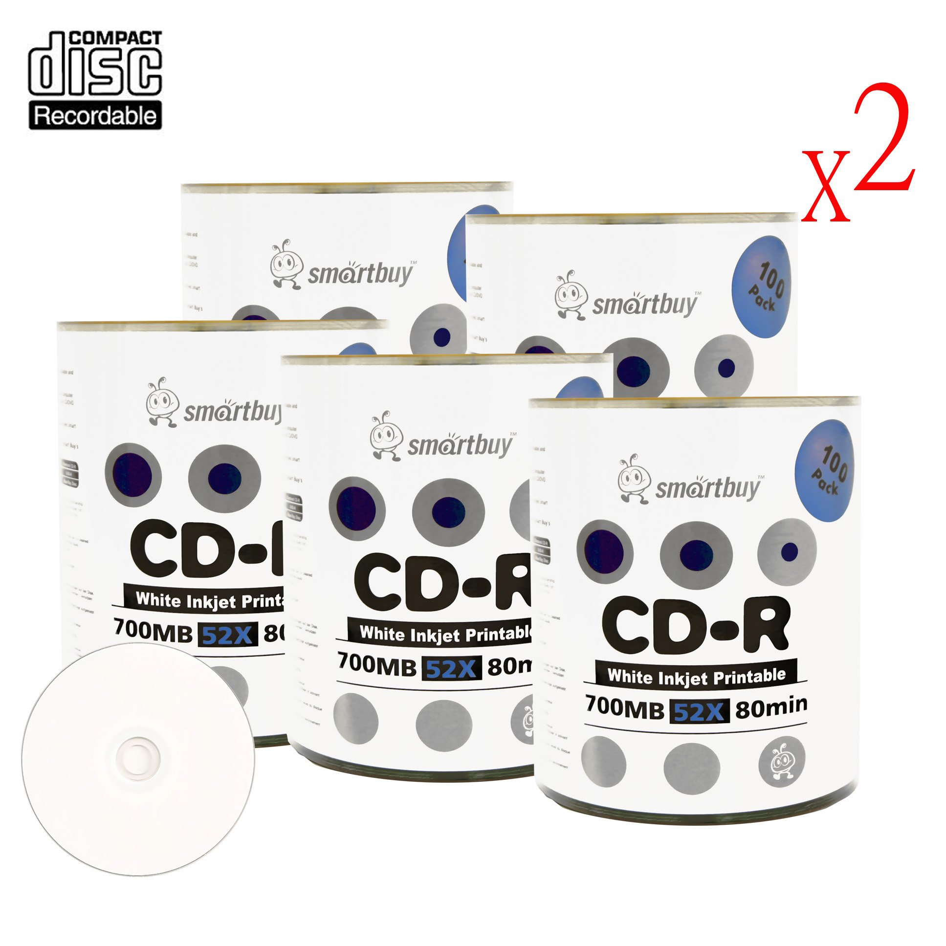 Smart Buy CD-R 1000 Pack 700mb 52x Printable White Inkjet Blank Recordable Discs, 1000 Disc, 1000pk by Smart Buy