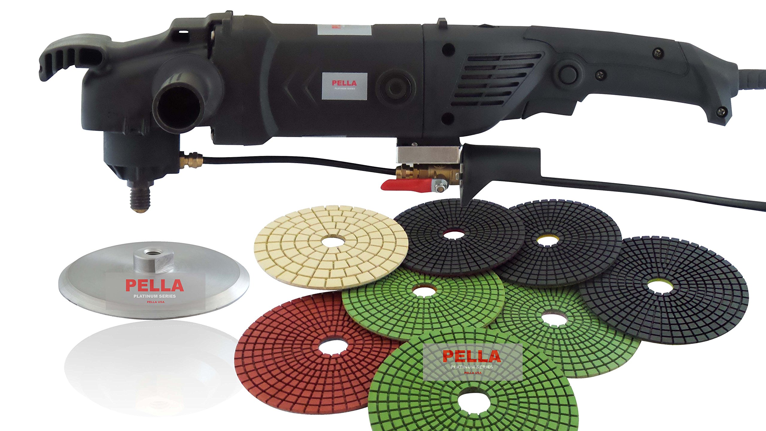 PELLA USA 1200 WATT HEAVY DUTY CONCRETE POLISHER WITH 5'' 8PC PADS AND 5'' ALUMINUM BACKER PAD