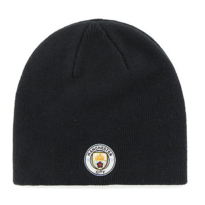97d7b034612 Manchester City FC Adults Official Knitted Football Soccer Crest Beanie Hat  (One Size)