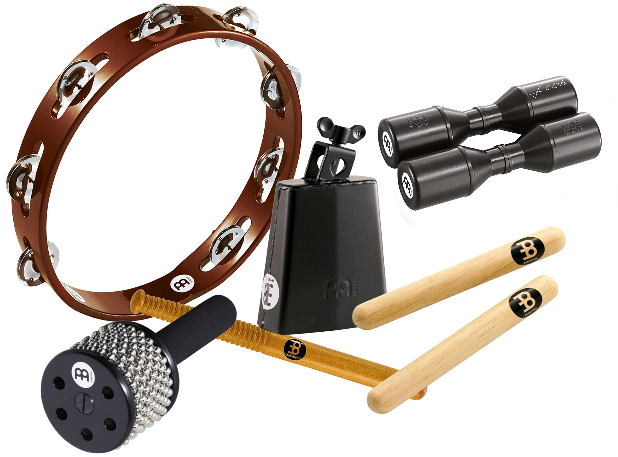 Meinl Percussion Essential Percussion Pack with Tambourine, Cowbell with Beater, Cabasa, Clave Pair and FREE Shaker (ES-PERC by Meinl Percussion