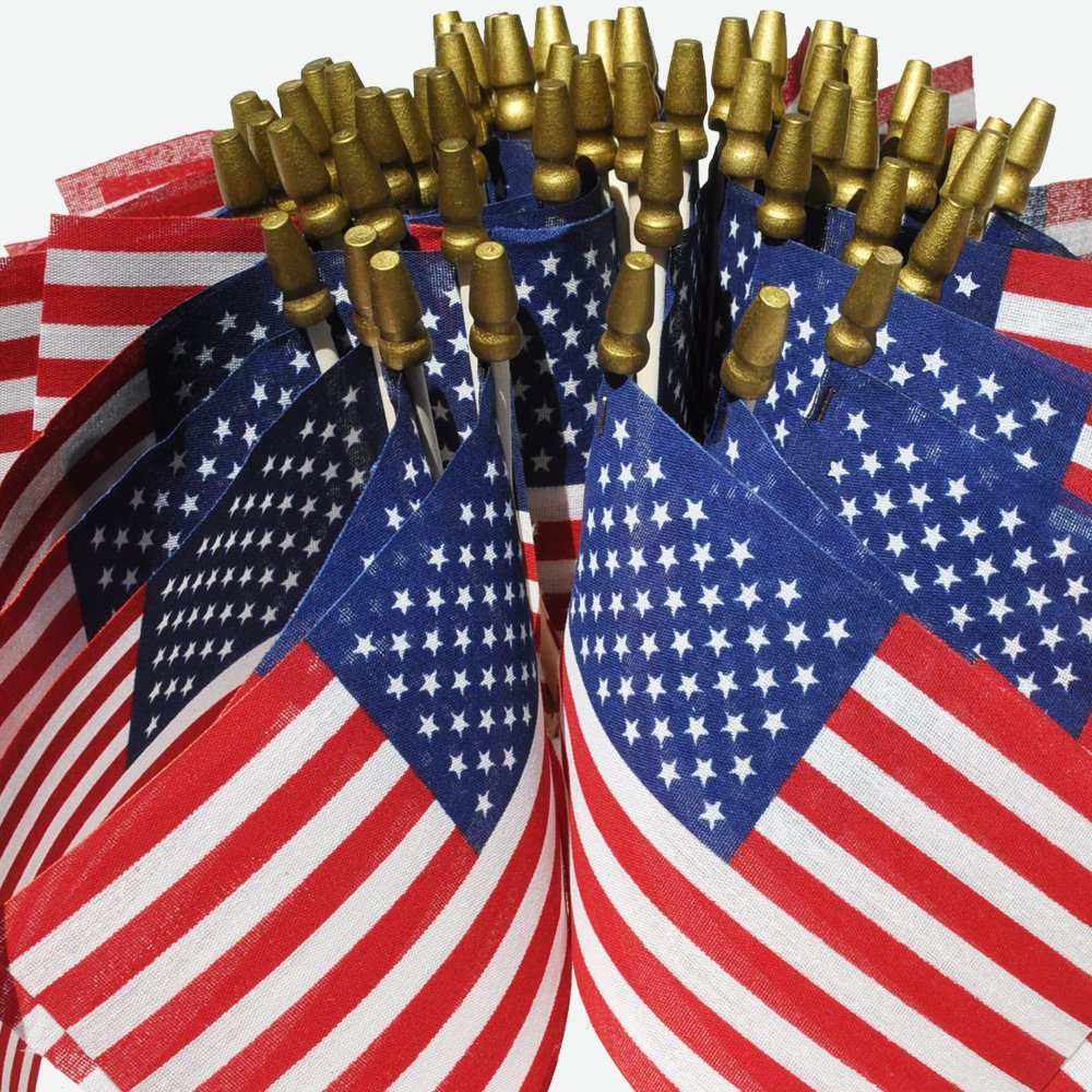"""Hand Held American Flags on Sticks 60-Pack 4""""x6"""" Made in USA, Sold by Vets, American Quality, Vivid Colors, Rain Proof, Kid-Safe Spear Top. Perfect for Parades, Scout Troops, Returning Servicemen"""