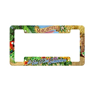 Rico Industries CVF111128C 5 O\'clock Sunset Margaritaville Crystal View License Plate Frame, Green, Tan, 12-inch by 6-inch : Sports & Outdoors [5Bkhe2014517]