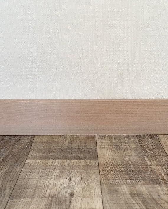 MADE IN GERMANY Fu/ßleisten mit MDF-Kern Wandabschlussleiste mit Clipfr/äsung /& geradem Abschluss Fu/ßbodenleisten in den Ma/ßen 2,4m x 5,8cm Sockelleisten mit Nut in Eiche cottage