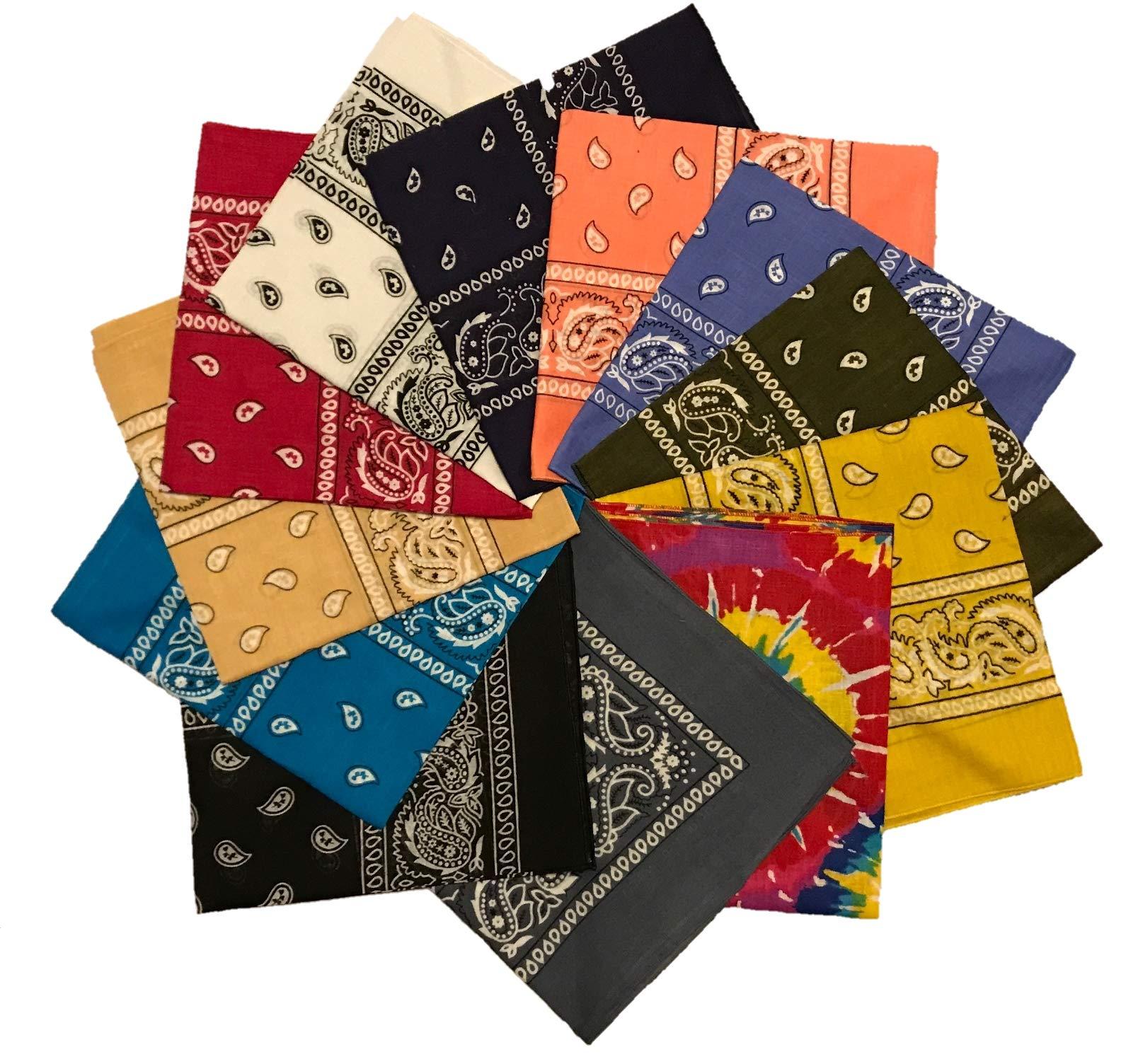 Styllion printed Bandanas - 12 pack - 100% Cotton (Assorted#4 12pcs)