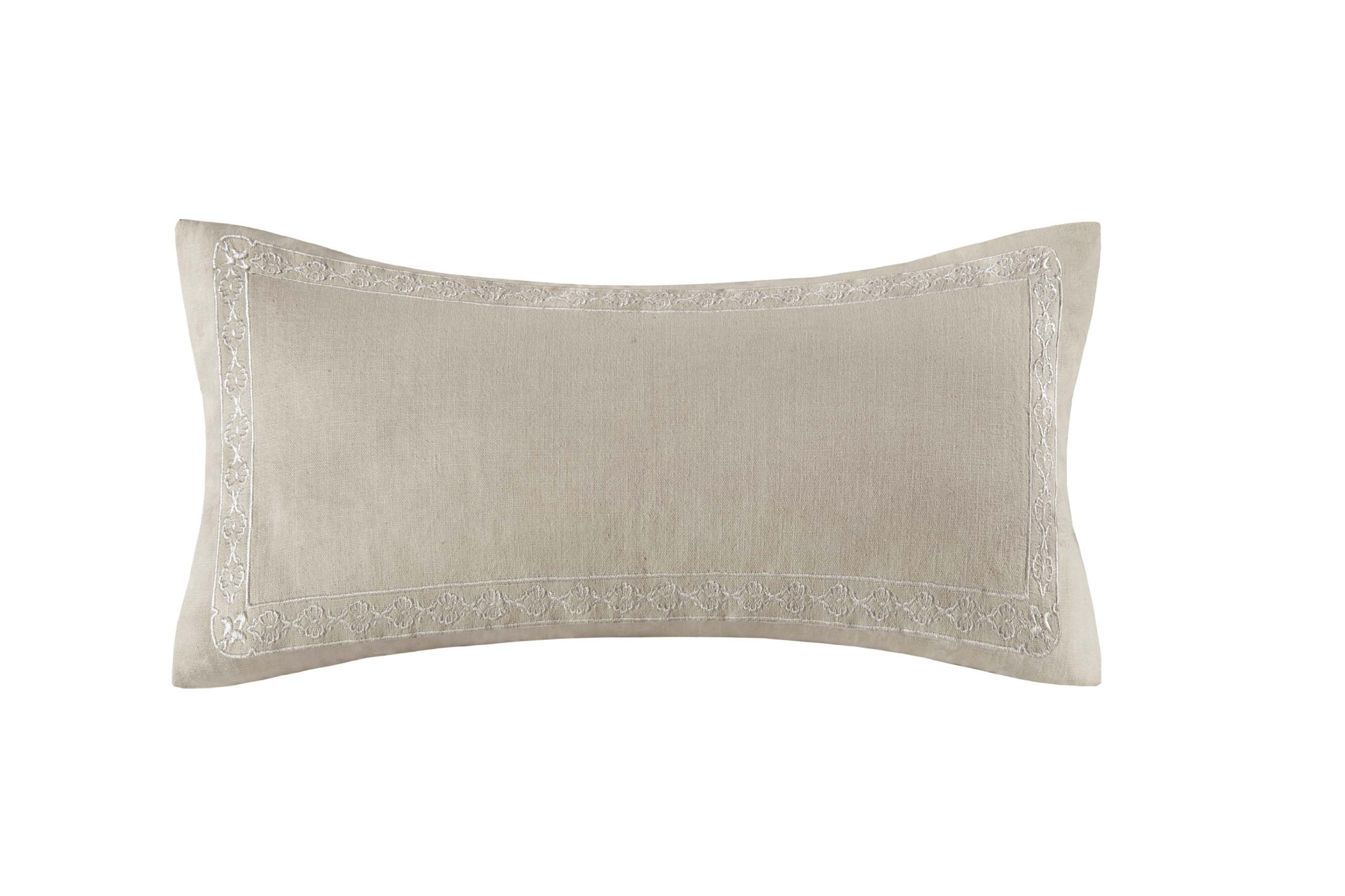 Echo Odyssey Fashion Cotton Throw Pillow, Global Inspired Embroidered Oblong Decorative Pillow, 10X20, Stone - 100% cotton faux linen fabric with embr, same embr pattern as Euro, 100% poly filling Measurements: 10-by-20-inch pillow Shell: Dry Clean; Filling: Machine Washable - living-room-soft-furnishings, living-room, decorative-pillows - 815A5c wmvL -