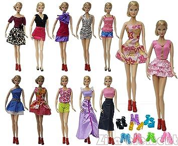 ZITA ELEMENT10 Vestidos + 10 Zapatos Traje de Ropa de Verano Corta para Muñecas Barbie