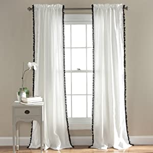 "Lush Decor Pom Curtain | Textured, Solid Color Shabby Chic Style Window Panel Drape for Living, Dining Room, Bedroom (Single), 84"" x 50"", 84 x 50, Black and White"