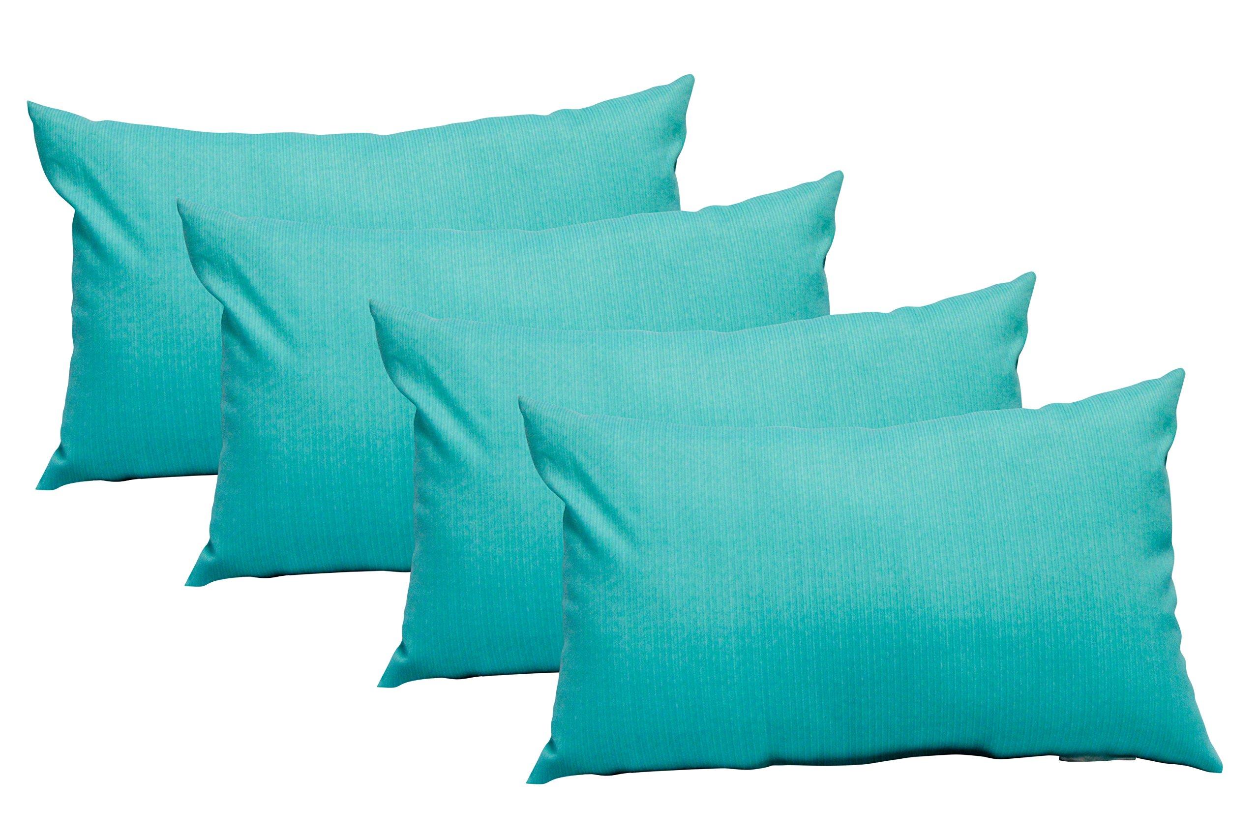 Set of 4 Indoor / Outdoor Decorative Lumbar / Rectangle Pillows - Teal Twill Mini Strip Pattern