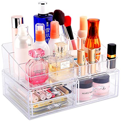 1adbfa01c367 COOLBEAR Makeup Organizer Countertop & Acrylic Large Cosmetic Storage  Display Boxes, 12.2''×7.5''×6.7''with Makeup Tray and 3 Drawers Set for  Vanity ...