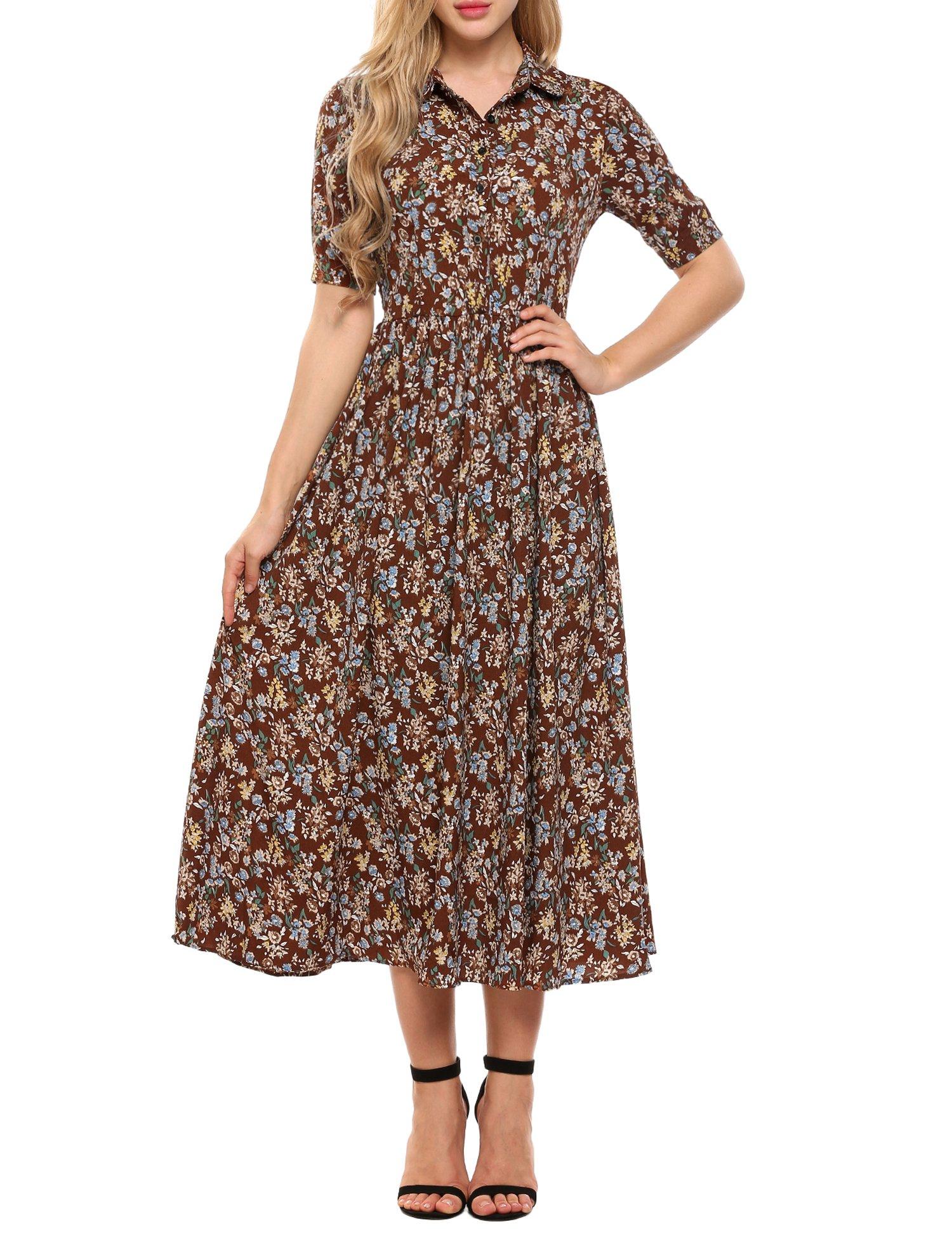 ACEVOG Womens Vintage Style Short Sleeve Floral Print Long Maxi Dress, Brown, Medium