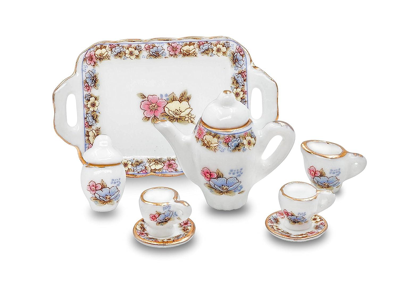 1/12 Scales Porcelain Miniature Tea Set with Tray Dollhouse Barbie Furniture - Cup,Saucers,Cream & Sugar and Lids Dapan Porcelain Factory